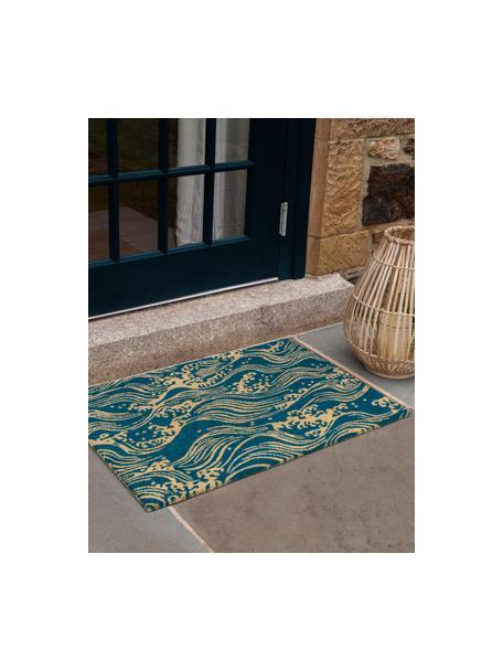 Deurmat Waves, Kokosvezels, Turquoise, beige, 45 x 75 cm
