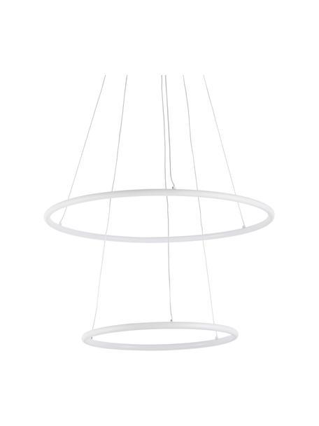 Grote LED hanglamp Orion, Lampenkap: gecoat metaal, Baldakijn: gecoat metaal, Diffuser: acryl, Wit, Ø 60 x H 50 cm