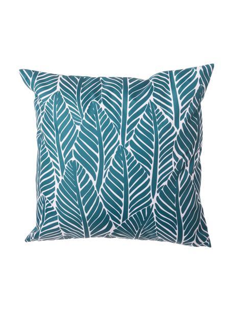 Outdoor kussen Sanka met bladerenmotief, met vulling, 100% polyester, Blauw, 45 x 45 cm