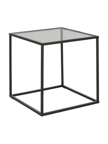 Beistelltisch Maya mit Glasplatte, Tischplatte: Sicherheitsglas, Gestell: Metall, pulverbeschichtet, Tischplatte: Glas, schwarz getöntGestell: Schwarz, matt, 45 x 50 cm