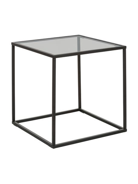 Tavolino con piano in vetro Maya, Struttura: metallo verniciato a polv, Piano: vetro tinto nero Struttura: nero opaco, Larg. 45 x Alt. 50 cm