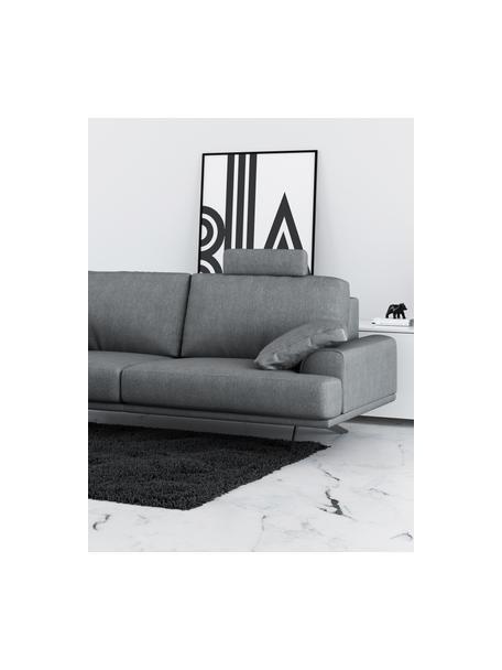 Divano 2 posti in tessuto grigio chiaro Prado, Rivestimento: poliestere, Sottostruttura: compensato, legno di betu, Piedini: metallo, verniciato, Grigio chiaro, Larg. 220 x Alt. 107 cm