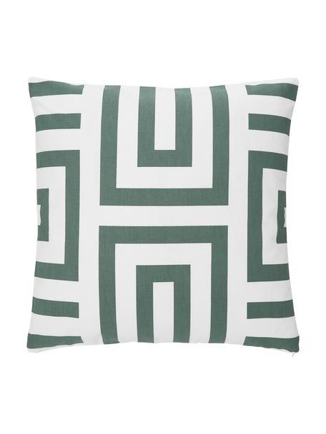 Federa arredo in cotone verde salvia/bianco con motivo grafico Bram, 100% cotone, Bianco, verde salvia, Larg. 45 x Lung. 45 cm