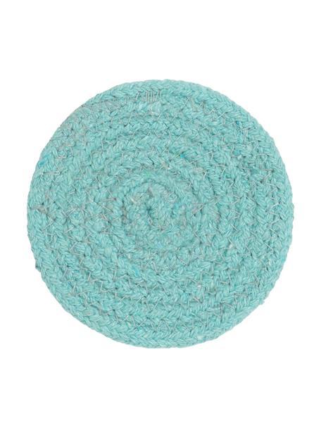 Ronde onderzetter Vera van katoen, 4 stuks, 100% katoen, Turquoise, Ø 10 cm