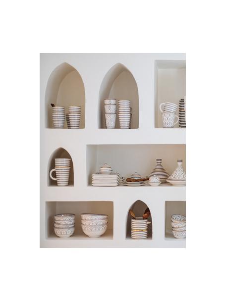 Cuenco artesanal Moyen, estilo marroquí, Cerámica, Gris claro, crema, oro, Ø 15 x Al 9 cm