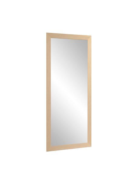 Eckiger Anlehnspiegel Yvaine mit beigem Holzrahmen, Rahmen: Holz, Spiegelfläche: Spiegelglas, Beige, 81 x 181 cm