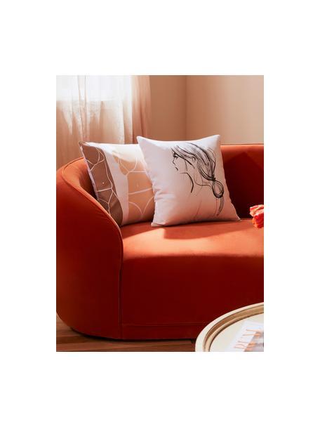 Design kussenhoes Ponytail van Kera Till, 100% katoen, Wit, zwart, 40 x 40 cm