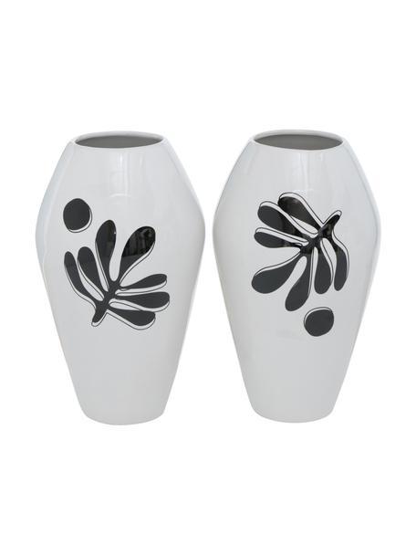 Vasen-Set Matty aus Dolomitstein, 2-tlg., Dolomitstein, Weiß, Schwarz, Ø 13 x H 22 cm