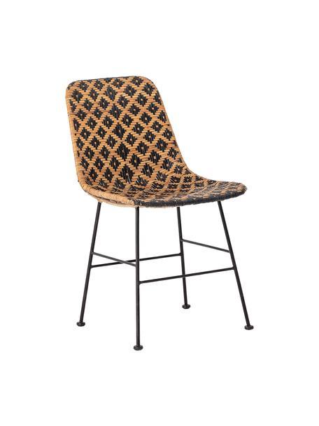 Krzesło z rattanu Kitty, Nogi: metal powlekany, Czarny, beżowy, S 55 x G 44 cm