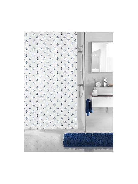 Duschvorhang Anchor mit Anker-Print, 100% Polyester Wasserabweisend, nicht wasserdicht, Dunkelblau, Weiß, 180 x 200 cm