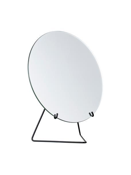 Runder Kosmetikspiegel Standing Mirror mit schwarzem Stahlrahmen, Gestell: Stahl, pulverbeschichtet, Spiegelfläche: Spiegelglas, Schwarz, 20 x 23 cm