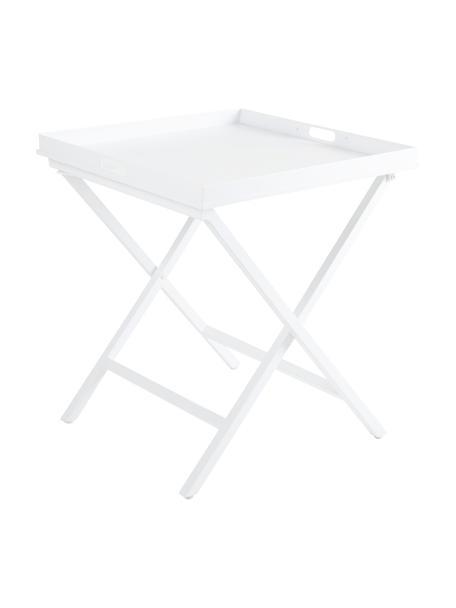 Klappbarer Tablettisch Vero in Weiß, Aluminium, beschichtet, Weiß, matt, 60 x 70 cm