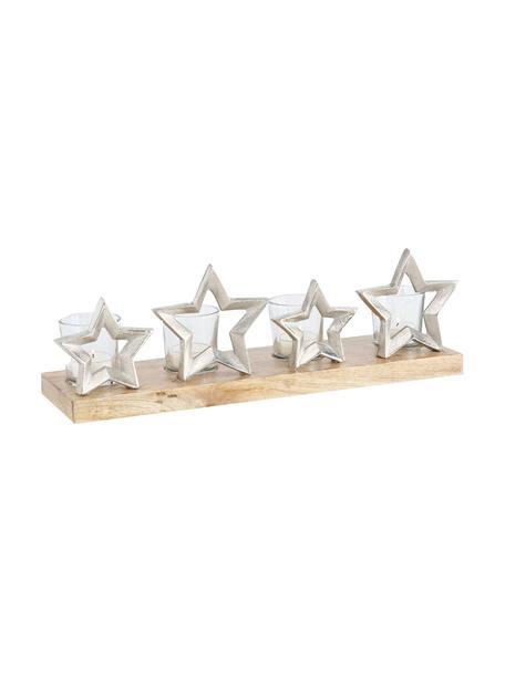 Teelichthalter-Set Janna, 5-tlg., Tablett: Mangoholz, Aluminium, Mangoholz, Aluminium, Transparent, 42 x 14 cm