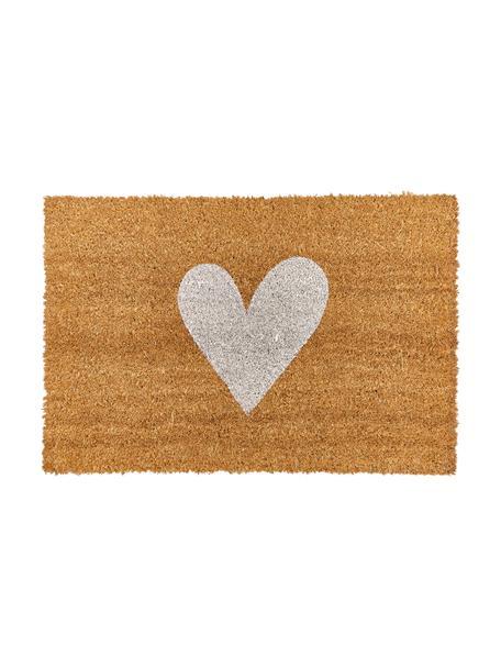 Felpudo Love, Parte superior: fibras de coco, Reverso: plástico (PVC), Beige, blanco, An 40 x L 60 cm