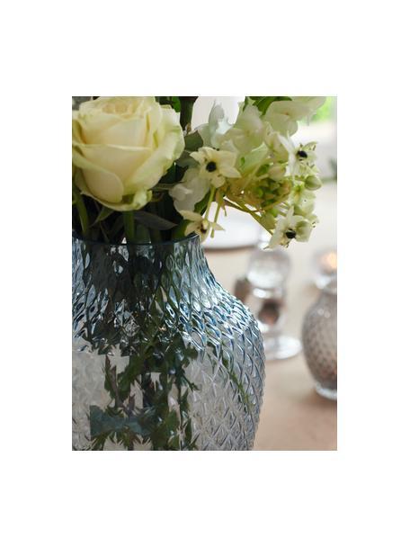 Jarrón artesanal de vidrio Poesia, Vaso, Azul, Ø 19 x Al 23 cm