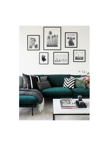 Kussenhoes Lena met zigzag patroon in zwart/wit, 100% katoen, panamabinding, Zwart, crèmekleurig, 40 x 40 cm