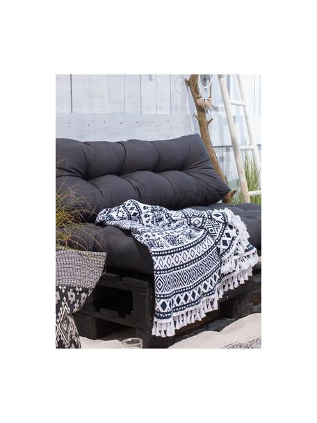 Ręcznik plażowy okrągły Goa, Czarny, biały, Ø 150 cm
