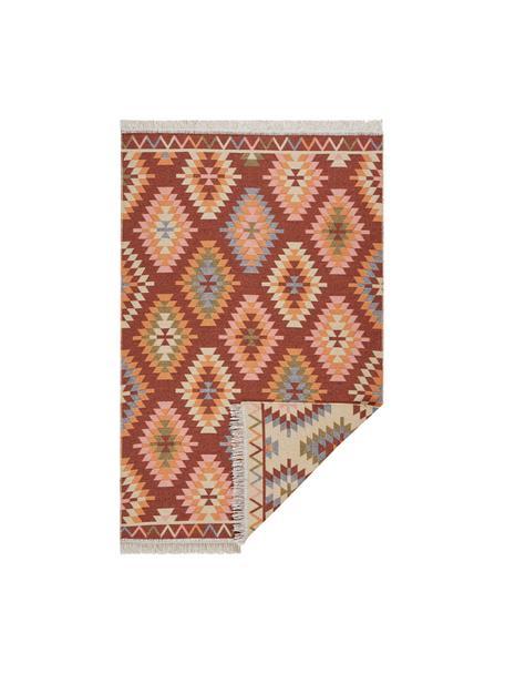 Dun kelim vloerkleed Tawi in etnische stijl gemaakt van katoen, 100% katoen, Rood, oranje, blauw, beige, roze, B 70 x L 140 cm (maat XS)