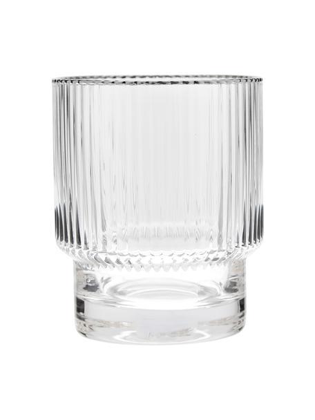 Vasos artesanales con relieve Minna, 4uds., Vidrio soplado, Transparente, plata, Ø 8 x Al 10 cm