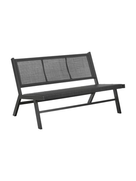 Panchina da giardino in metallo nero intrecciata Palina, Struttura: metallo verniciato a polv, Seduta: rete in plastica, Nero, Larg. 121 x Alt. 75 cm