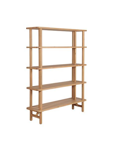 Libreria in legno di quercia Gost, Legno di quercia massiccio, pannello di fibra a media densità (MDF), Beige, Larg. 140 x Alt. 180 cm