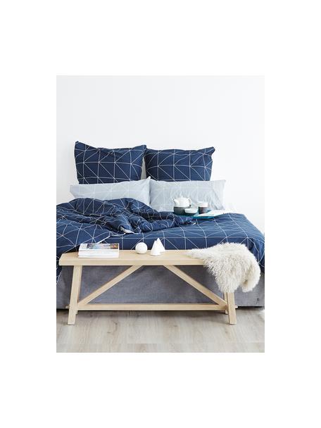 Funda nórdica doble cara de algodón Marla, Azul marino, blanco crema, Cama 90 cm (150 x 220 cm)