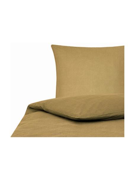 Pościel z bawełny z efektem sprania Arlene, Żółty, 135 x 200 cm + 1 poduszka 80 x 80 cm