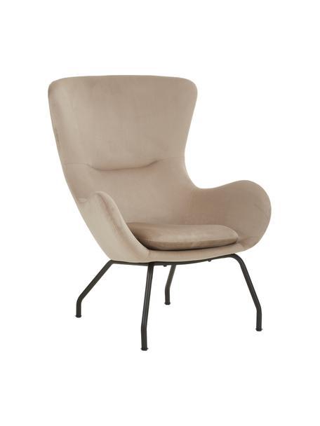 Fluwelen fauteuil Wing in beige met metalen poten, Bekleding: fluweel (polyester), Frame: gegalvaniseerd metaal, Fluweel beige, 75 x 85 cm