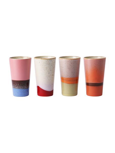 Handgemachte Becher 70's im Retro Style, 4er-Set, Steingut, Mehrfarbig, Ø 8 x H 13 cm