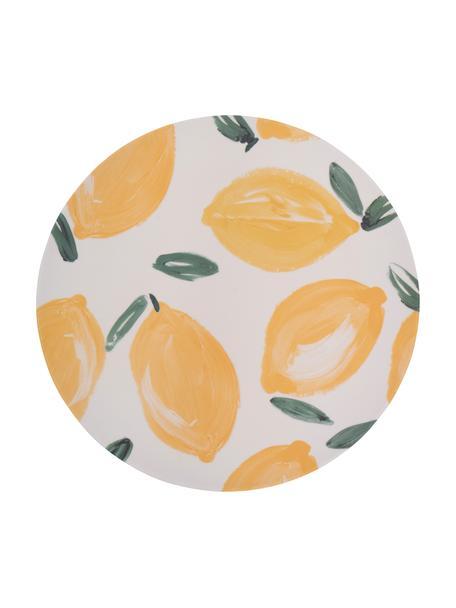 Bamboe-dinerbord Sicilian Summer, 4 stuks, Bamboevezels, Beige, geel, Ø 25 cm