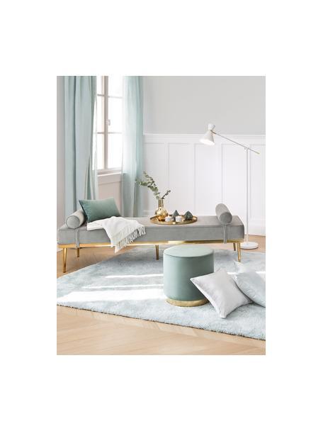 Fluwelen daybed Aurora in grijs met metalen poten, Bekleding: fluweel (hoogwaardig poly, Poten: gecoat metaal, Grijs, 180 x 42 cm