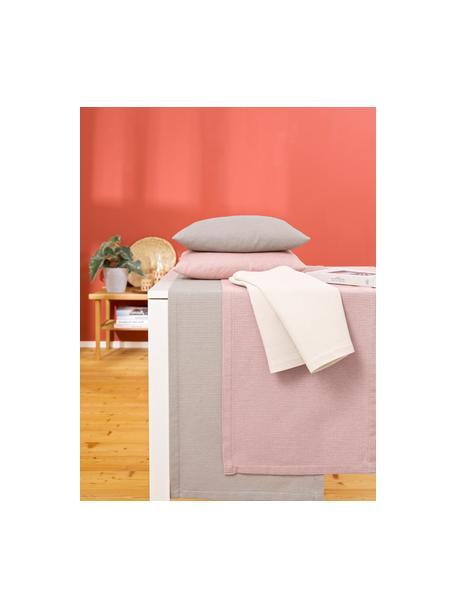 Waffelpiqué tafelloper Kubo in roze, 65% katoen, 35% polyester, Oudroze, 40 x 145 cm