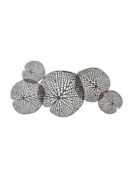 Wandobject Tereza van gelakt metaal, Gelakt metaal, Zwartbruin, 97 x 50 cm