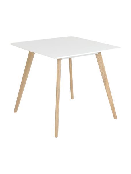 Mesa de comedor pequeña Flamy, diseño escandinavo, Tablero: fibras de densidad media , Patas: madera de roble aceitada, Blanco, roble, An 80 x F 80 cm