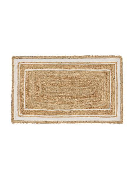 Handgeweven juten vloerkleed Clover, 100% jute, Beige, wit, 50 x 80 cm
