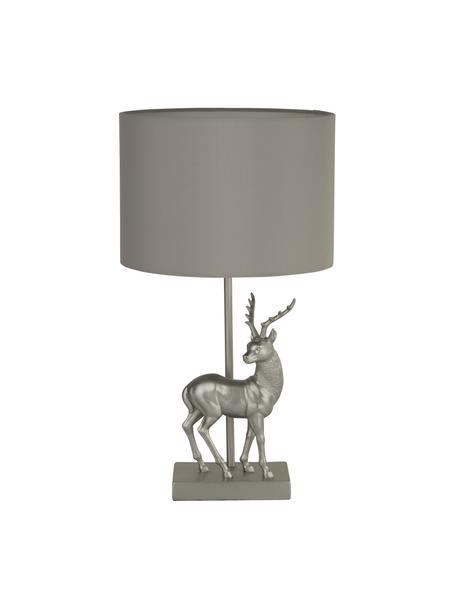 Design tafellamp Stag in zilverkleur, Lampenkap: stof, Lampvoet: polyresin, Grijs, zilverkleurig, Ø 24 x H 43 cm