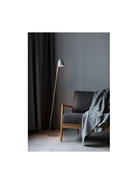 Kleine Retro-Leselampe Pine, Lampenschirm: Metall, beschichtet, Dekor: Metall, beschichtet, Grau, Messingfarben, 37 x 133 cm