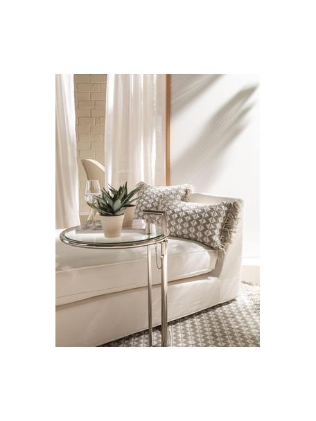 Cuscino da interno-esterno con frange e imbottitura Morty, 100% poliestere (PET riciclato), Grigio, bianco latteo, Larg. 30 x Lung. 50 cm
