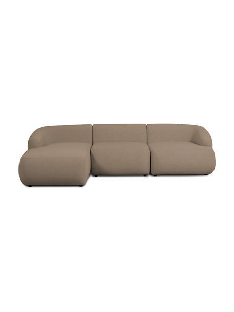 Narożna sofa modułowa Sofia, Tapicerka: 100% polipropylen Dzięki , Stelaż: lite drewno sosnowe, płyt, Nogi: tworzywo sztuczne, Brązowy, S 278 x G 174 cm