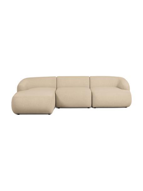 Narożna sofa modułowa Sofia, Tapicerka: 100% polipropylen Dzięki , Stelaż: lite drewno sosnowe, płyt, Nogi: tworzywo sztuczne, Ciemny beżowy, S 278 x G 174 cm