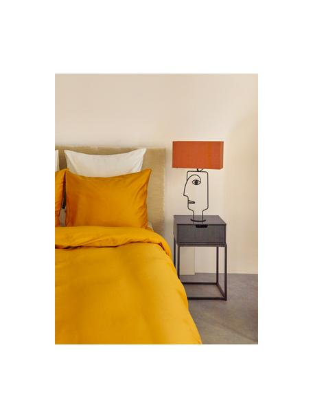 Nachttisch Mitra mit Schublade, Mitteldichte Holzfaserplatte (MDF), lackiert, Metall, pulverbeschichtet, Schwarz, 40 x 62 cm
