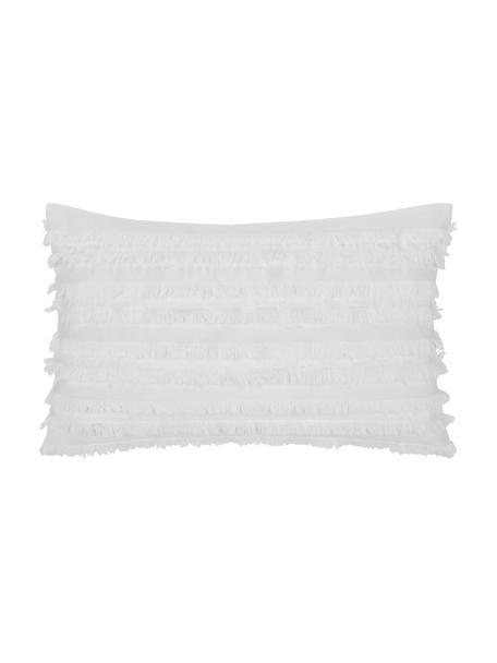 Federa arredo bianco con frange decorative Jessie, 88% cotone, 7% viscosa, 5% lino, Bianco, Larg. 30 x Lung. 50 cm