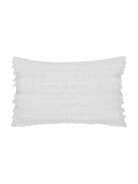 Funda de cojín con flecos Jessie, 88%algodón, 7%viscosa, 5%lino, Blanco, An 30 x L 50 cm