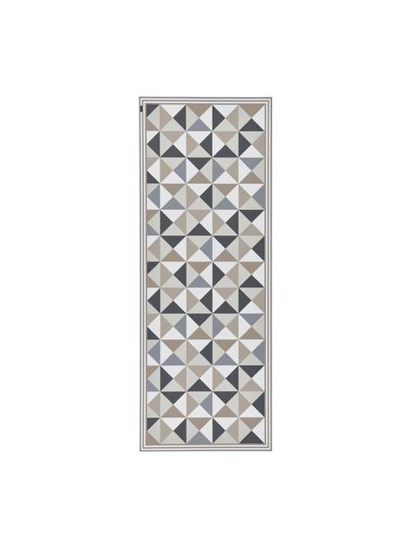 Tappetino antiscivolo grigio/beige in vinile Haakon, Vinile riciclabile, Tonalità grigie, tonalità beige, bianco, Larg. 68 x Lung. 180 cm