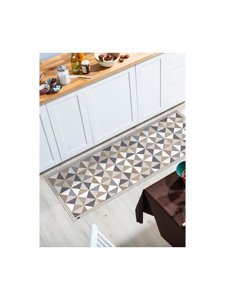 Vlakke vinyl vloermat Haakon in grijs / beige, antislip, Recyclebaar vinyl, Grijstinten, beigetinten, wit, 68 x 180 cm