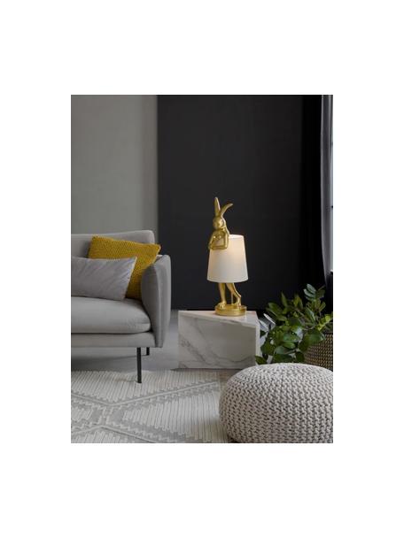 Lámpara de mesa grande de diseñoRabbit, Pantalla: lino, Cable: plástico, Blanco, dorado, Ø 23 x Al 68 cm