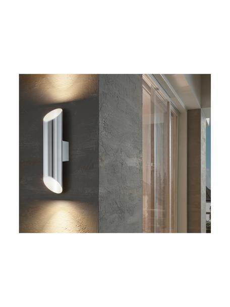 Outdoor wandlamp Agolada in zilverkleur, Lampenkap: edelstaal, gepoedercoat, Buitenzijde: edelstaalkleurig. Binnenzijde: wit, 8 x 36 cm
