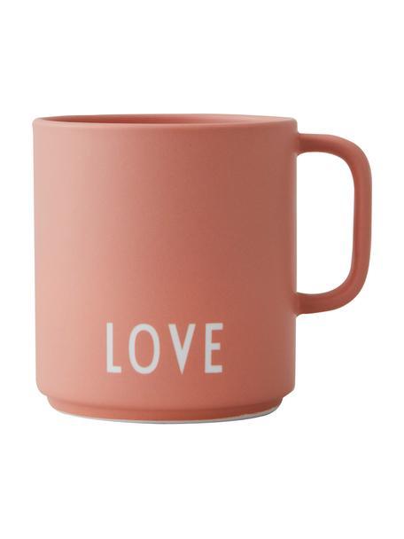 Design koffiekopje Favourite LOVE, terracottakleurig, met opschrift, Fine Bone China (porselein), Terracottakleurig, wit, Ø 10 x H 9 cm