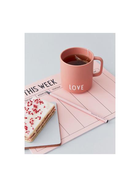 Design Kaffeetasse Favourite LOVE in Terrakotta mit Schriftzug, Fine Bone China (Porzellan), Terrakotta, Weiss, Ø 10 x H 9 cm
