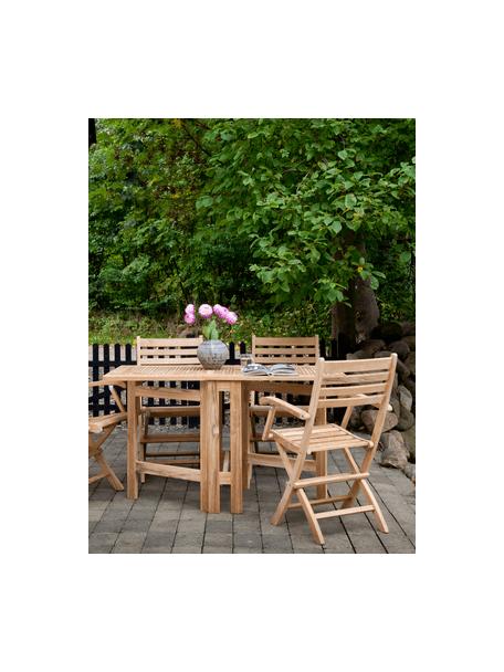 Rozkładany stół ogrodowy z drewna Butterfly, Drewno tekowe, piaskowane, Drewno tekowe, S 130 x W 72 cm